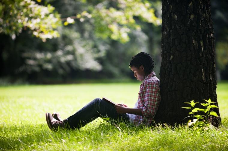 Junge liest Buch im Park